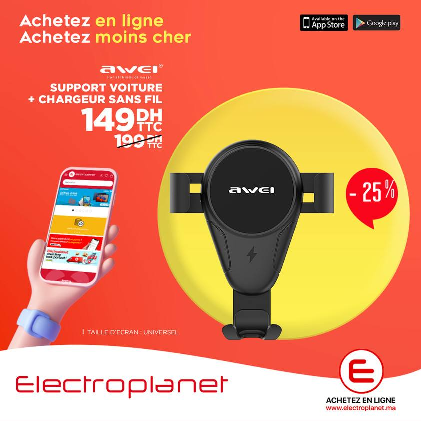 Promos Electroplanet Maroc Awei Support Voiture + Chargeur Sans fil