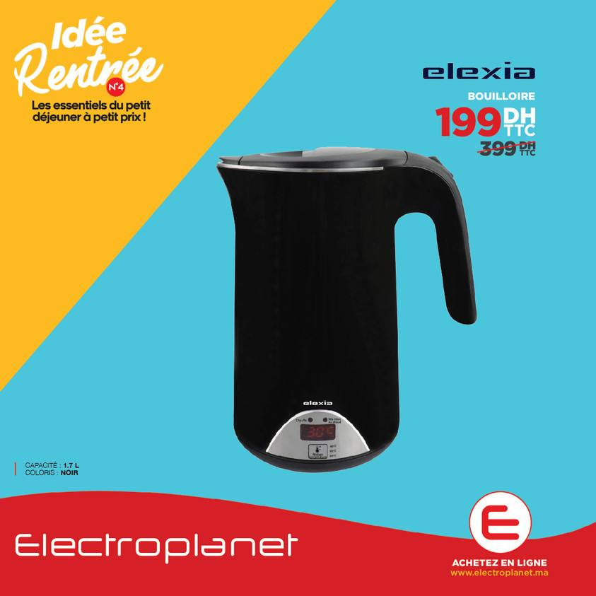 Promos Electroplanet Maroc Bouilloire ELEXIA ELX-KT-912